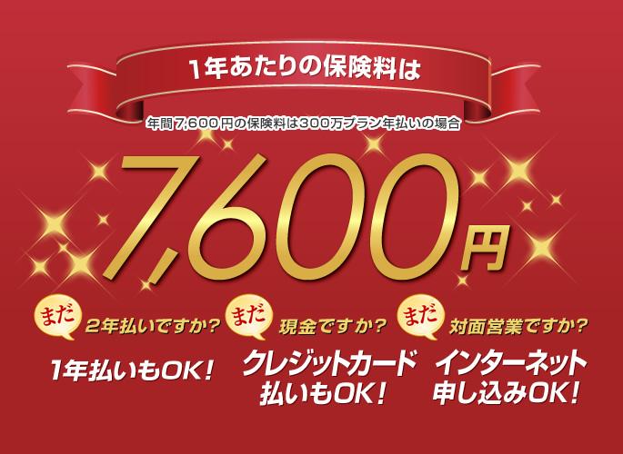家財保険「新すまいRoom保険」年間 7,600 円